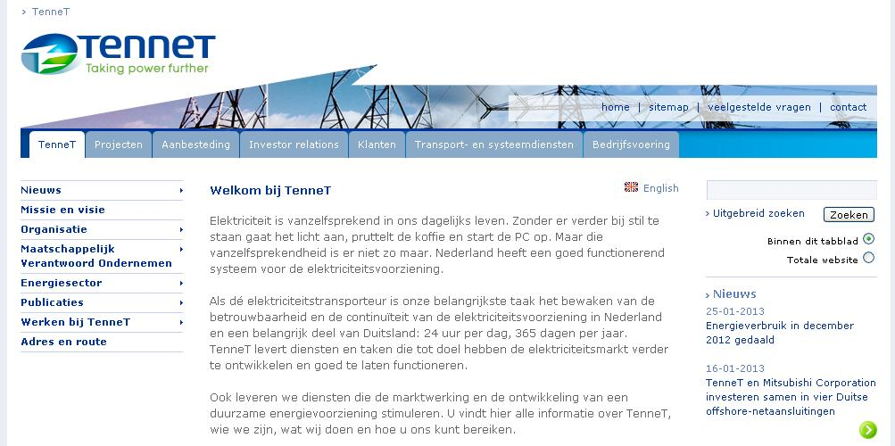 Oude website van TenneT
